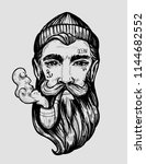 head of a man with a beard and... | Shutterstock .eps vector #1144682552