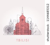 outline tbilisi skyline with...   Shutterstock .eps vector #1144685312