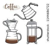 coffee brewing methods using... | Shutterstock .eps vector #1144686722