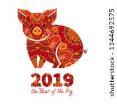 pig is a symbol of the 2019... | Shutterstock .eps vector #1144692575