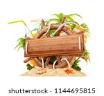 wooden helm with a blank wooden ... | Shutterstock . vector #1144695815