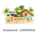 the word summer made of sand on ... | Shutterstock . vector #1144695818