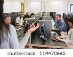teacher talking to group in... | Shutterstock . vector #114470662
