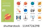 universe icon pack flat style.... | Shutterstock .eps vector #1144726298