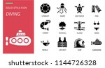 diving icon pack solid style.... | Shutterstock .eps vector #1144726328