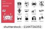 diving icon pack solid style.... | Shutterstock .eps vector #1144726352