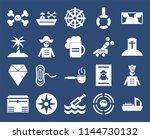 set of 20 icons such as ship ...