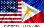 Usa And Philippine Flag Of Silk