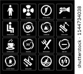 set of 16 icons such as no step ...