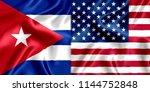 cuba and us flag silk | Shutterstock . vector #1144752848