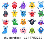cute cartoon monsters. comic... | Shutterstock .eps vector #1144753232