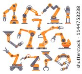 flat manufacture robotic arm.... | Shutterstock .eps vector #1144753238