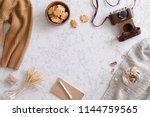 hello autumn flat lay... | Shutterstock . vector #1144759565