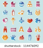 set of vector stickers with... | Shutterstock .eps vector #114476092