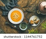 flat lay of fall warming... | Shutterstock . vector #1144761752