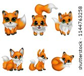 set cute fox cartoon | Shutterstock .eps vector #1144763258