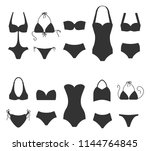 set of women swimsuit icons... | Shutterstock .eps vector #1144764845