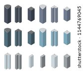 isometric buildings set. vector ... | Shutterstock .eps vector #1144769045