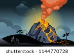eruption of the volcano at... | Shutterstock .eps vector #1144770728