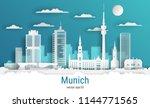 paper cut style munich city ... | Shutterstock .eps vector #1144771565