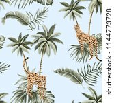 cheetah  palm trees and... | Shutterstock .eps vector #1144773728