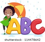 Illustration of a Girl Holding an Umbrella Standing Beside Letters of the Alphabet - stock vector