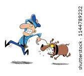 crazy dog barking and running... | Shutterstock .eps vector #1144789232
