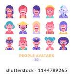 set of vector avatars.... | Shutterstock .eps vector #1144789265