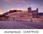 sunset landscape at Prince's Palace in Monaco - stock photo