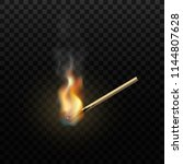 realistic burning match.... | Shutterstock .eps vector #1144807628