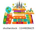 bookshelves with books in room... | Shutterstock .eps vector #1144828625