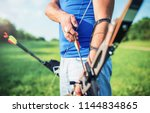 archery. archer exercise with... | Shutterstock . vector #1144834865