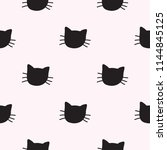 Stock vector hand drawn cats vector seamless pattern doodle cat heads endless background for trendy fabric 1144845125