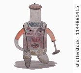 vodka. alcoholic addicted.... | Shutterstock .eps vector #1144861415