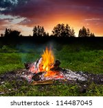 Fireplace In Forest At Dusk Th...