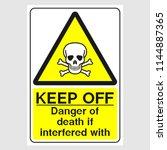 "plate  ""keep off. danger of... | Shutterstock .eps vector #1144887365"