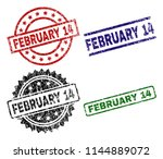 february 14 seal prints with... | Shutterstock .eps vector #1144889072