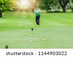blurred of young golfer... | Shutterstock . vector #1144903022