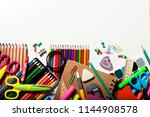 group of school supplies and... | Shutterstock . vector #1144908578