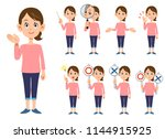 9 women's gestures and... | Shutterstock .eps vector #1144915925