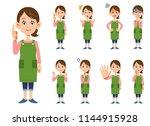 nine gestures and facial... | Shutterstock .eps vector #1144915928