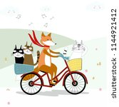 cute fox on the sweet bicycle... | Shutterstock .eps vector #1144921412
