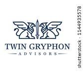 gryphon line art logo design... | Shutterstock .eps vector #1144935578