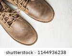 close up vintage leather shoes... | Shutterstock . vector #1144936238