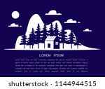 country house or blue home icon ... | Shutterstock .eps vector #1144944515