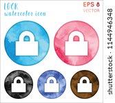 lock watercolor icon set.... | Shutterstock .eps vector #1144946348