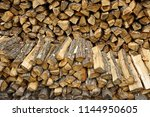 Firewood Pile Stacked Chopped...