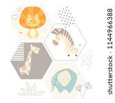 lion giraffe  zebra  elephant... | Shutterstock .eps vector #1144966388
