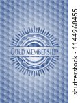 gold membership blue emblem or... | Shutterstock .eps vector #1144968455