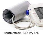blood pressure meter showing a... | Shutterstock . vector #114497476